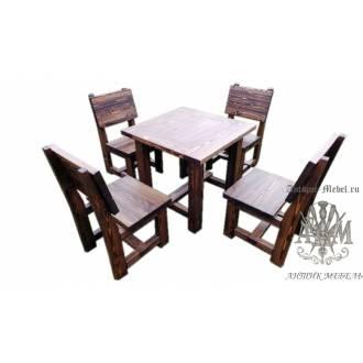 Комплект обеденной мебели под старину из массива сосны Лесник