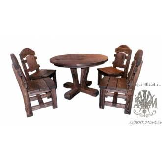 Комплект обеденной мебели под старину из массива сосны Медведь