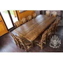 Комплект столовой мебели под старину из массива сосны Рошфор-12