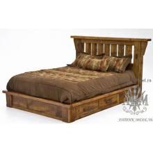 Кровать под старину из массива дерева сосны №2