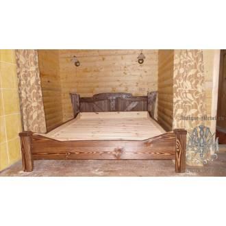 Кровать под старину из массива дерева сосны №3