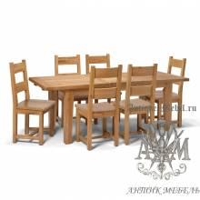 Столовый набор мебели из массива дерева натурального дуба №2