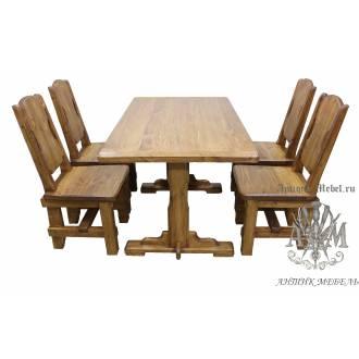 Комплект столовой мебели под старину из массива сосны Модерн
