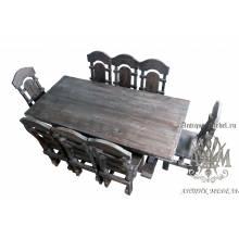 Комплект столовой мебели под старину из массива сосны Ришелье-1