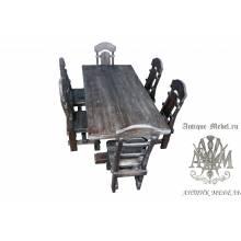 Комплект столовой мебели под старину из массива сосны Ришелье-2