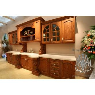Кухонный гарнитур Лев из массива натурального дерева