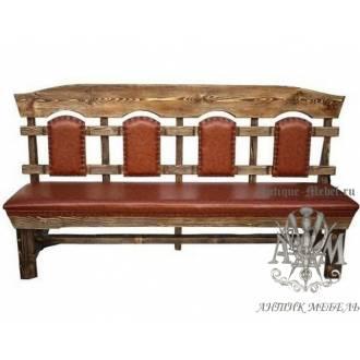 Деревянная скамья под старину 2 м. из массива сосны Ришелье мягкая