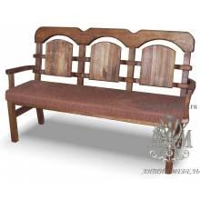 Скамья для кафе из дерева 1,7 м. под старину №4 мягкая (ткань) с подлокотниками
