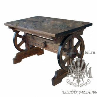 Стол из массива сосны 130х80 Колесо