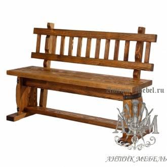 Скамья из дерева под старину 1,3 м. для бара Полубочка