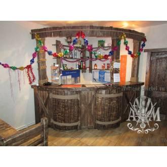 Барная стойка деревянная для кафе Полубочка