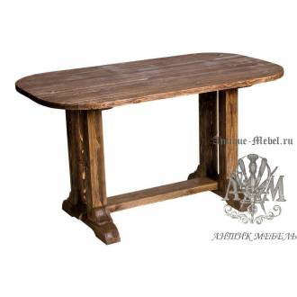 Стол обеденный 140х80 из массива сосны Скругленный