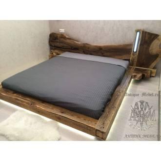 Кровать из слеба Ореха с подсветкой