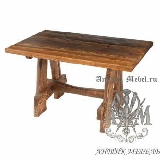 Деревянный стол 130x80 под старину из массива сосны Медведь