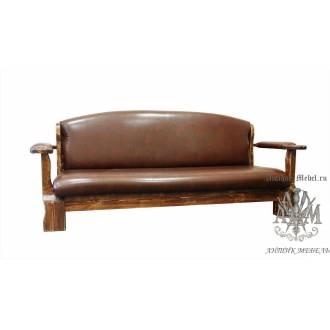 Кожаный диван из массива дерева Атос