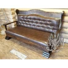 Деревянный диван Забава с обивкой экокожа