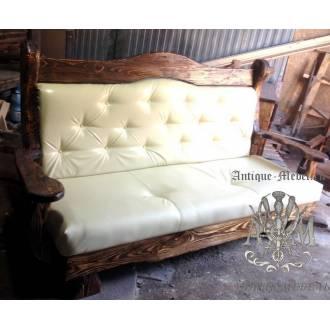 Кожаный мягкий диван Белый под старину